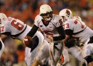 Ball State's Kelly Page (5) during their game with Auburn at Jordan-Hare Stadium in Auburn, Ala. on Saturday, Sept. 26, 2009. (Montgomery Advertiser/Lloyd Gallman)