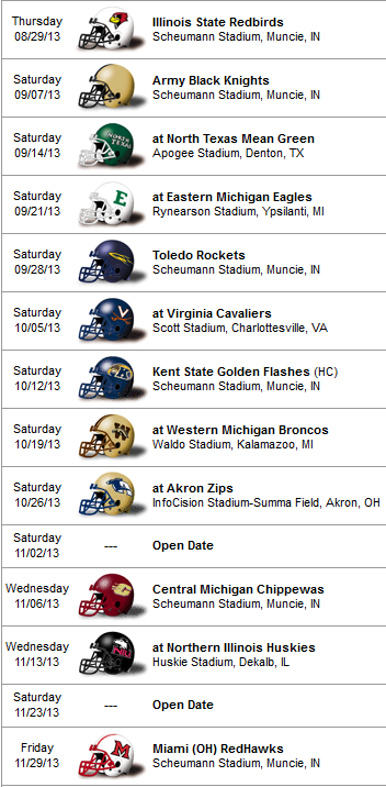 ball state schedule 2013